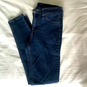 Dark wash high-waisted skinny jeans